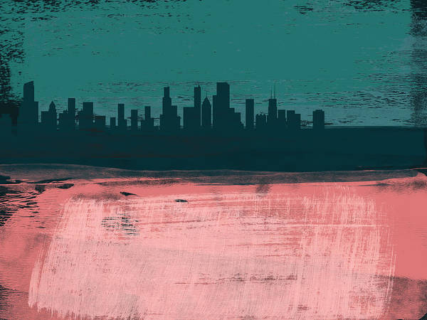 Chicago Poster featuring the mixed media Chicago Abstract Skyline II by Naxart Studio