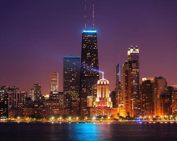 Lake Michigan Poster featuring the photograph Chicago City Skyline At Night by Geoff Tompkinson