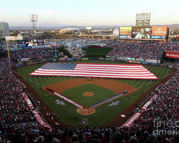 American League Baseball Poster featuring the photograph Chicago Cubs V Los Angeles Angels Of by Sean M. Haffey