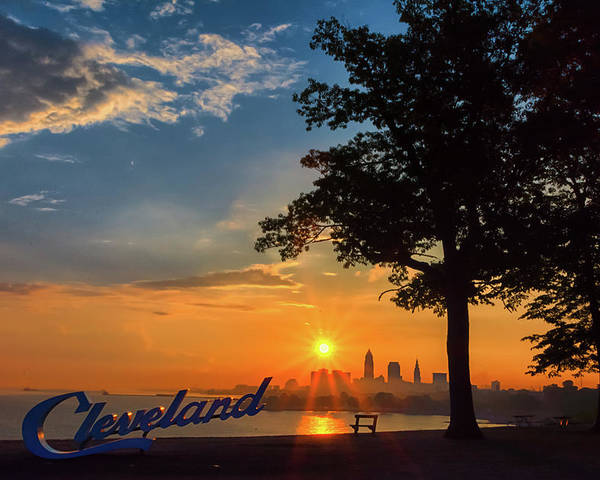 Sunrise Poster featuring the photograph Cleveland Sign Sunrise by Richard Kopchock