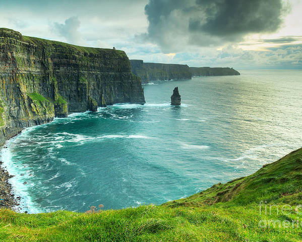 Big Poster featuring the photograph Cliffs Of Moher At Sunset Co Clare by Kwiatek7