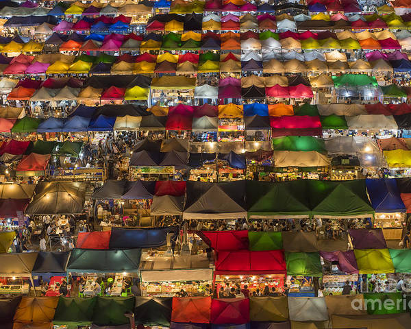 Seller Poster featuring the photograph Colorful Street Market From Above by Duke.of.arch