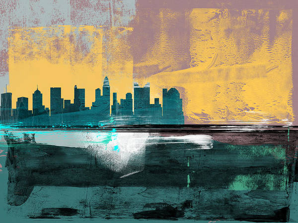 Columbus Poster featuring the mixed media Columbus Abstract Skyline I by Naxart Studio