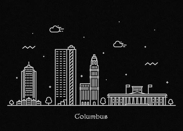 Columbus Poster featuring the drawing Columbus Skyline Travel Poster by Inspirowl Design