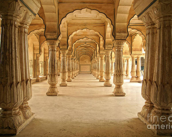 Mosque Poster featuring the photograph Columned Hall Of Amber Fort. Jaipur by Igor Plotnikov