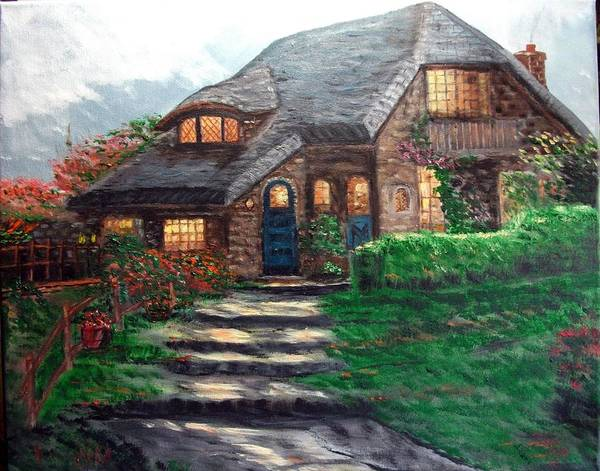 Oil On Canvas Poster featuring the painting Cottage Inn by Kenneth LePoidevin