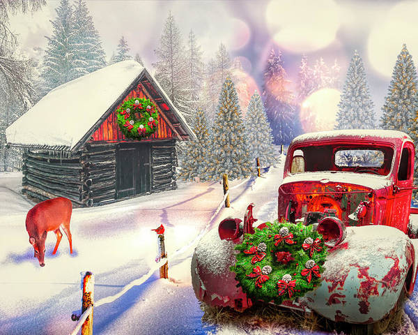 Barns Poster featuring the digital art Country Mountain Christmas by Debra and Dave Vanderlaan