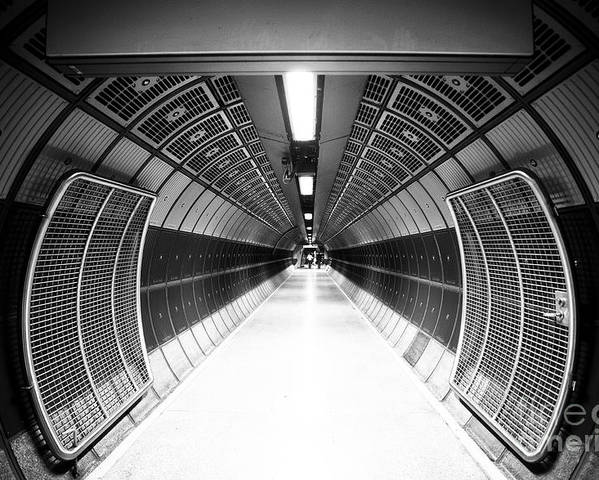 Steel Poster featuring the photograph Cylindric Tunnel For Pedestrians by Jose As Reyes