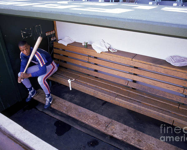 People Poster featuring the photograph Darryl Strawberry Sits In The Dugout by Jonathan Daniel