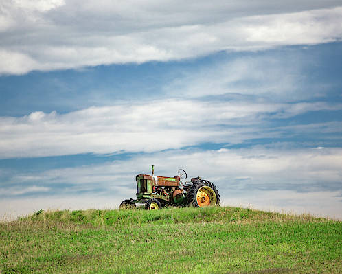 Old Poster featuring the photograph Deere On The Hill by Todd Klassy