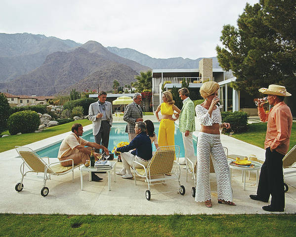 People Poster featuring the photograph Desert House Party by Slim Aarons
