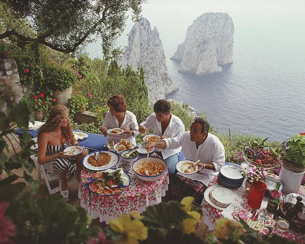 Artist Poster featuring the photograph Dining Al Fresco On Capri by Slim Aarons