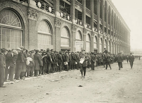 Horse Poster featuring the photograph Dodgers Fans In Line At Ebbets Field by Fpg