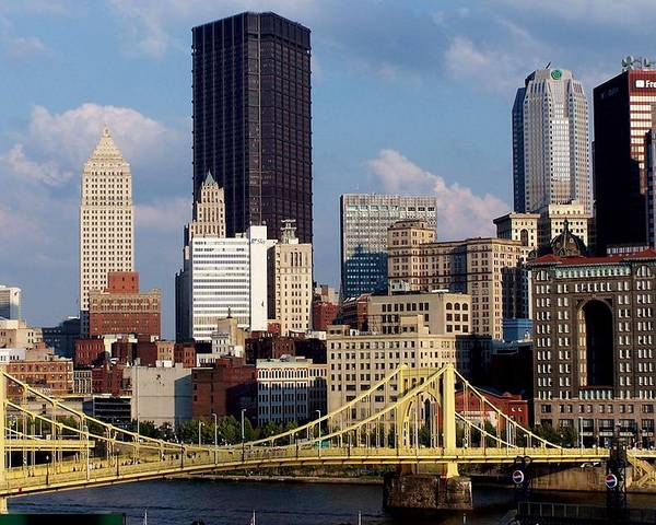 Downtown District Poster featuring the photograph Downtown Pittsburgh Panorama From Pnc by Photo By Paul D. Toth