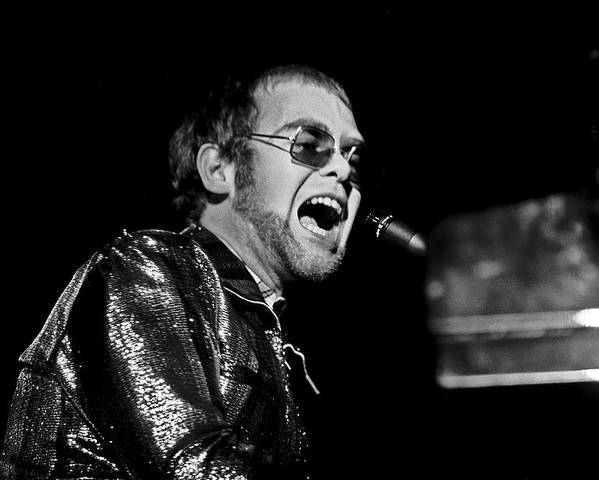Elton Poster featuring the photograph ELTON JOHN AT PIANO c. 1975 by Daniel Hagerman