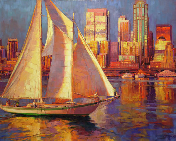 Sailboat Poster featuring the painting Emerald City Twilight by Steve Henderson