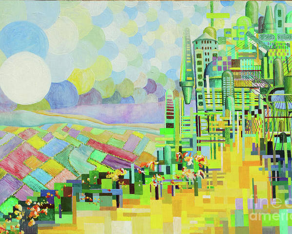 Emerald City Abstract Blue Green Yellow Brick Road Oz Scenic Shape Circle Bright Wizard Dorothy Poster featuring the painting Emerald City2 by Rust Dill