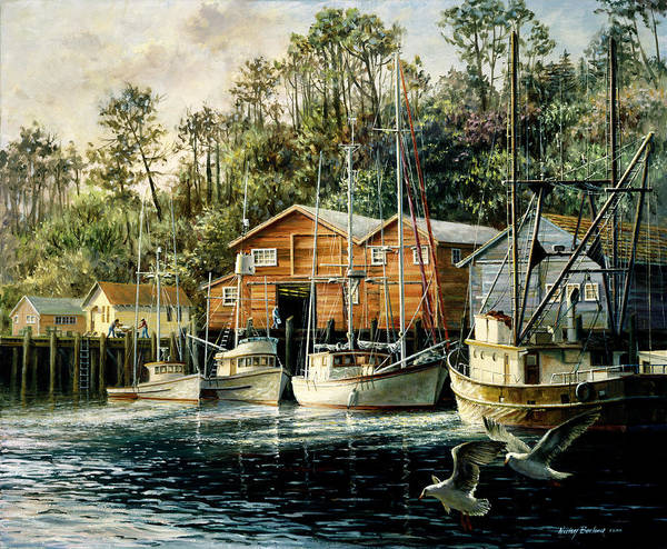 Fishes Fiercest Foursome Poster featuring the painting Fishes Fiercest Foursome by Nicky Boehme