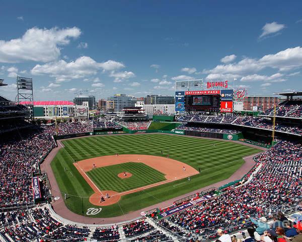 National League Baseball Poster featuring the photograph Florida Marlins V Washington Nationals by Joe Robbins