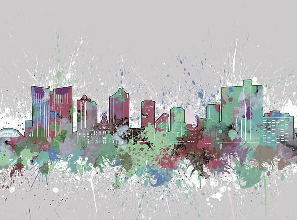 Fort Worth Poster featuring the digital art Fort Worth Skyline Artistic Pastel by Bekim M