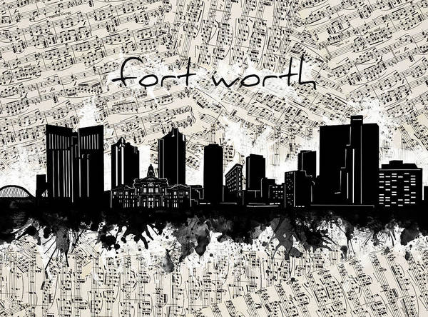 Fort Worth Poster featuring the digital art Fort Worth Skyline Music Sheet by Bekim M
