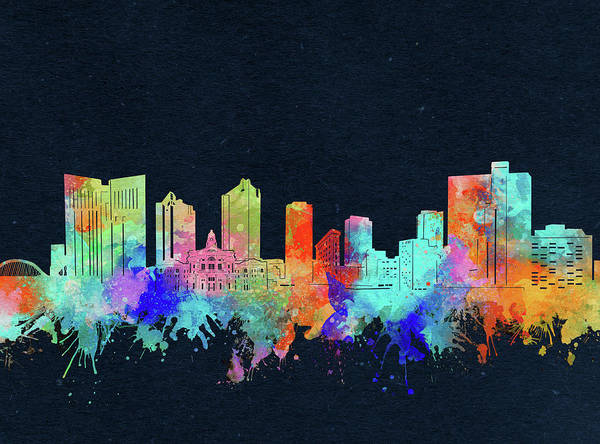 Fort Worth Poster featuring the digital art Fort Worth Skyline Watercolor Black by Bekim M