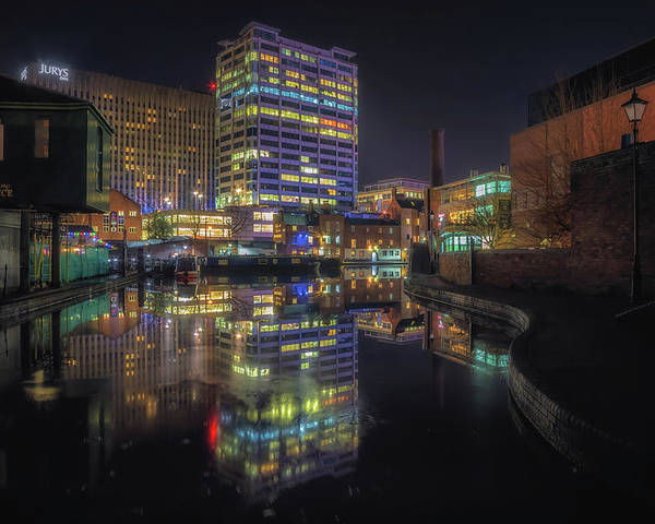 6x4 Poster featuring the photograph Gas Street Basin At Night by Chris Fletcher
