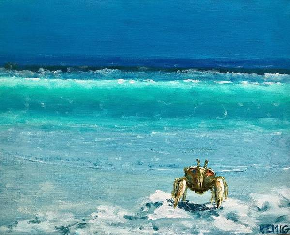Ghost Crab Poster featuring the painting Ghost Crab by Paul Emig