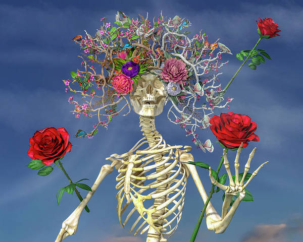 Skeleton Poster featuring the digital art Grateful Greetings And Good Times by Betsy Knapp
