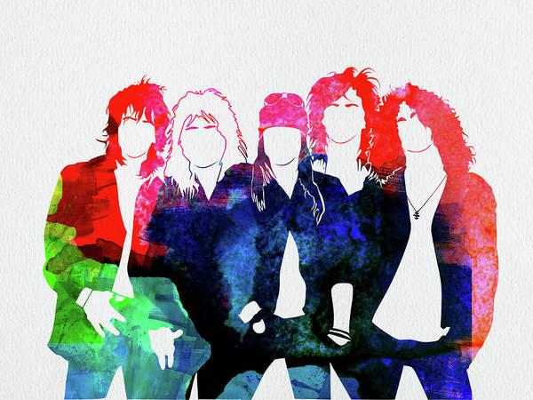 Guns N' Roses Poster featuring the mixed media Guns N' Roses Watercolor by Naxart Studio
