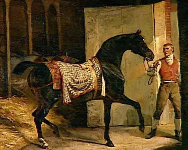 Horse Poster featuring the painting Horse Leaving A Stable by Gericault Theodore