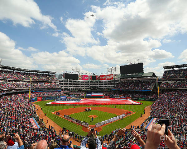 American League Baseball Poster featuring the photograph Houston Astros V Texas Rangers by Richard Rodriguez