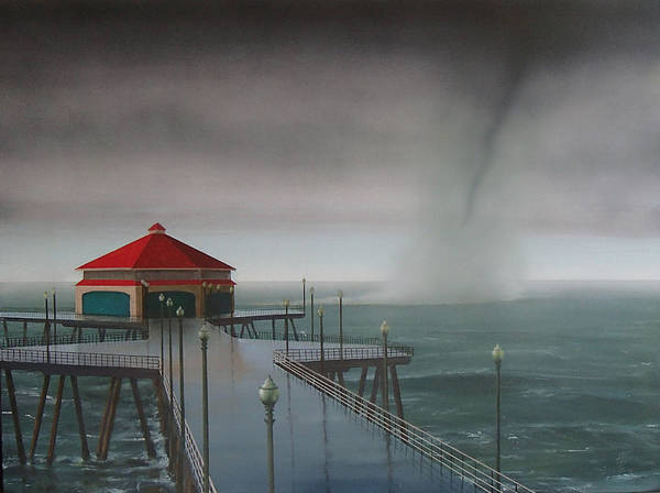 Huntington Beach Poster featuring the painting Huntington Beach Pier waterspout by Philip Fleischer