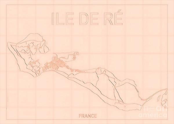Ile De Re Poster featuring the digital art Ile de Re Blueprint Map by HELGE Art Gallery