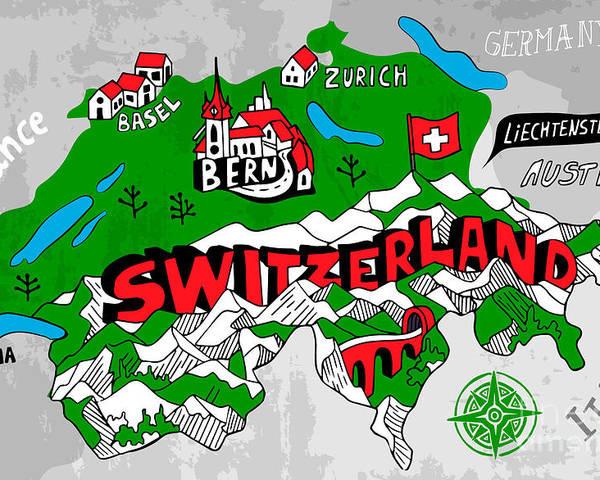 Country Poster featuring the digital art Illustrated Map Of Switzerland by Daria i
