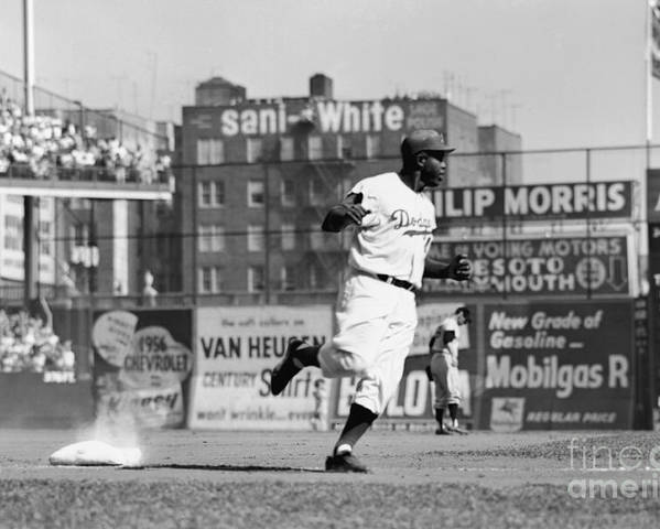 1950-1959 Poster featuring the photograph Jackie Robinson Rounds The Bases by Robert Riger