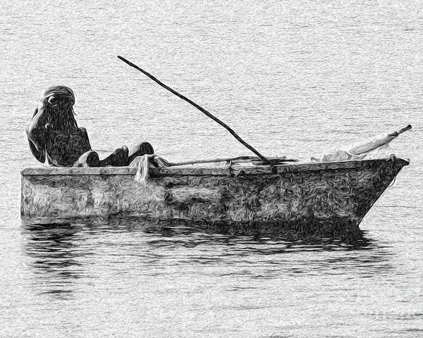 Ocho Rios Poster featuring the digital art Jamaican Fisherman in Ocho Rios Jamaica by Kenneth Montgomery