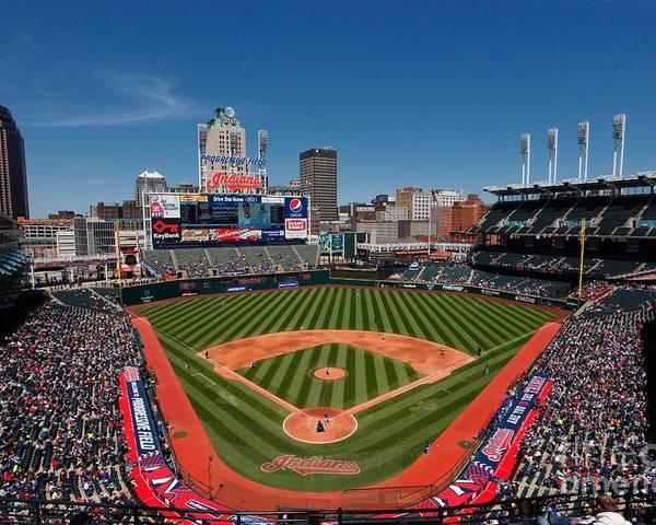 American League Baseball Poster featuring the photograph Kansas City Royals V Cleveland Indians by Joe Robbins