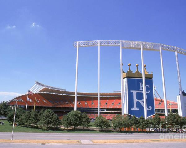 American League Baseball Poster featuring the photograph Kauffman Stadium by Stephen Dunn