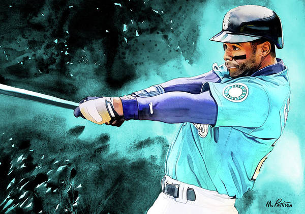 7c190ef142 Ken Griffey Jr Poster featuring the painting Ken Griffey Jr - Seattle  Mariners By Michael Pattison
