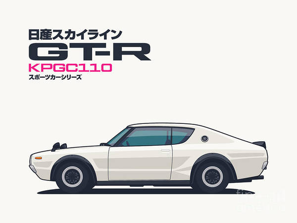 Gt-r Poster featuring the digital art Kpgc110 Gt-r Side - Plain White by Organic Synthesis