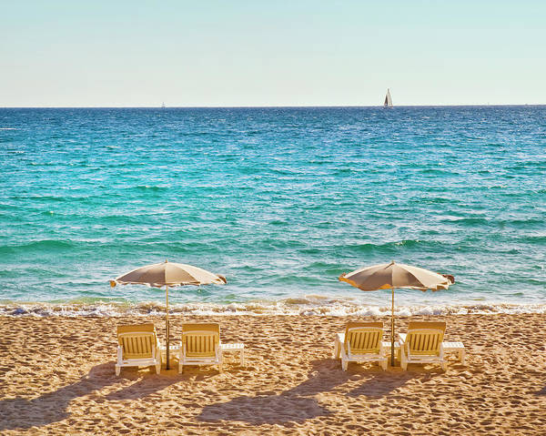 Shadow Poster featuring the photograph La Croisette Beach, Cannes, Cote Dazur by John Harper