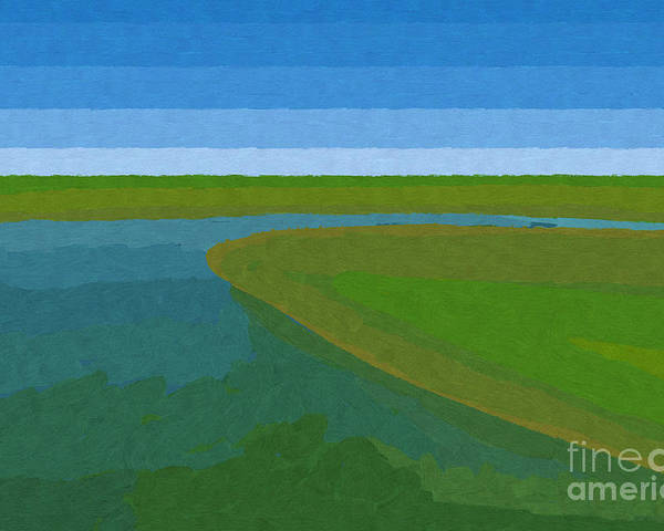 Pflugerville Poster featuring the painting Lake Pflugerville Abstract Landscape by D Tao