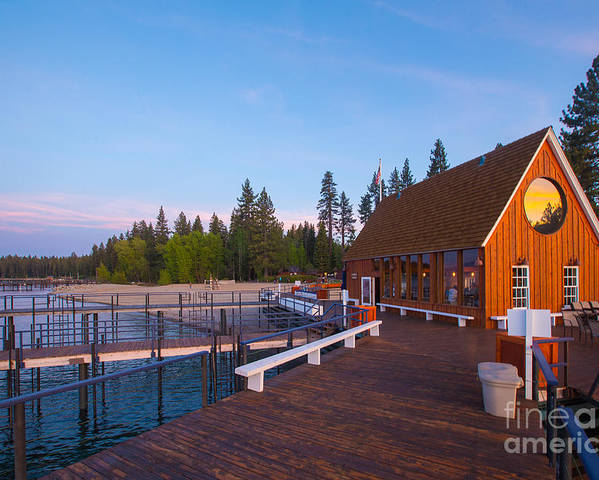 Lake Poster featuring the photograph Lake Tahoe Cabin on the Lake Sunset by Eddie Hernandez