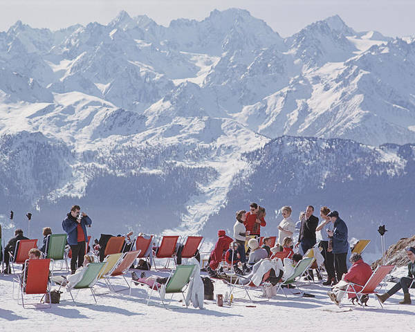 People Poster featuring the photograph Lounging In Verbier by Slim Aarons
