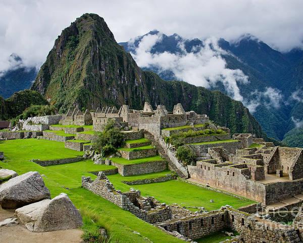 Civilization Poster featuring the photograph Machu Picchu In Peru. Unesco World by Byelikova Oksana