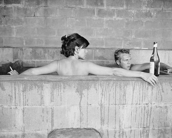 Looking Over Shoulder Poster featuring the photograph Mcqueen & Adams In Sulphur Bath by John Dominis