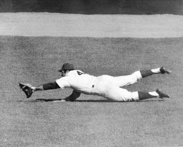 Ninth Inning Poster featuring the photograph Mets Ron Swoboda Dives To Stab Brooks by New York Daily News Archive
