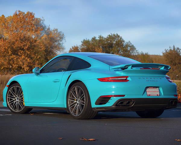 miami blue porsche 911 turbo S print Poster