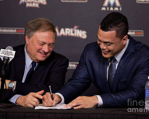 Jeffrey Loria Poster featuring the photograph Miami Marlins Resign Giancarlo Stanton by Rob Foldy